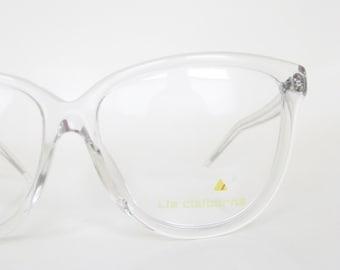 Vintage Clear Eyeglasses 1980s Oversized Cat Eye Sunglasses Glasses Sunnies Transparent Crystal Optical Frames Eighties 80s Deadstock NOS