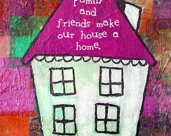 Home Decor Quirky House Print Wedding Gift Housewarming Pink