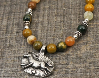Horse necklace with multicolor ocean jasper beads, brave heart, 18 1/2 inches long