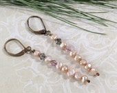 Holiday Wedding Collection Champagne Pearls And Crystal Earrings
