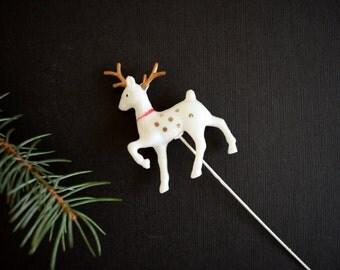 Vintage Reindeer Pick . Retro Christmas Decoration . White Deer . Winter Decor