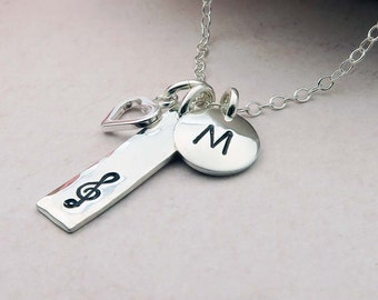Music Note Necklace, Personalized Initial Necklace, sterling silver, gift for music lover, music student