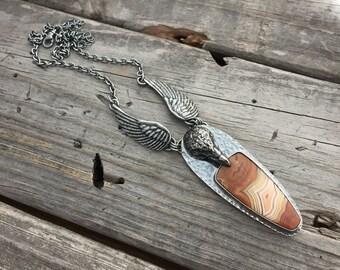 Sterling Silver Raven Necklace Sterling Silver Dryhead Agate Necklace Handmade Jewelry By Joy Kruse Wild Prairie Silver Jewlery