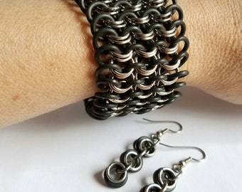 Black Rubber and Stainless Steel European 4-in-1 Chainmaille Bracelet and Earrings