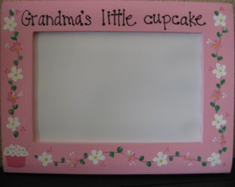 Mother's Day frame custom saying Grandmas special grandchild personalized hand painted photo picture frame