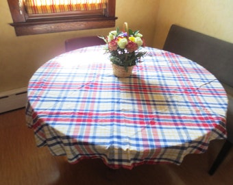 Vintage  Tablecloth-Red and Blue Plaid Country Print