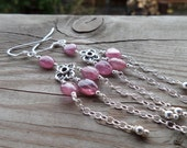 Reserved for Erica Pretty Pink Sapphire Birthstone Gemstone Sterling Dangle Chandelier Earrings