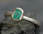 Raw Colombian Emerald on Recycled 14k White Gold Ring- Hammered Band- Ready to Ship