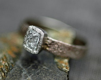 Sawn Australian Diamond on Hand Forged Recycled Gold Ring- Custom Made Engagement Ring