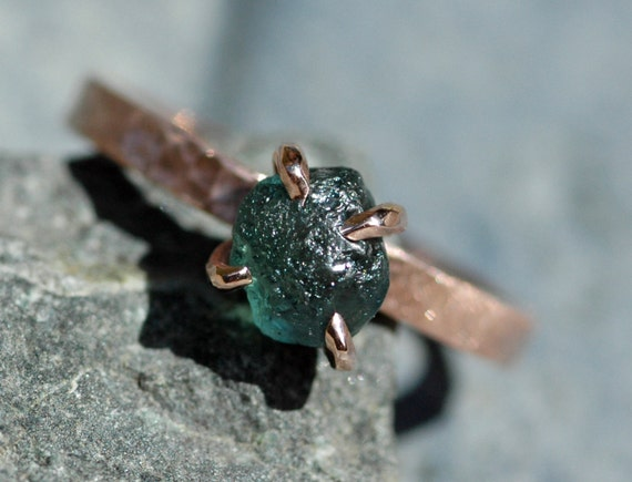 Raw Montana Sapphire on 14k Rose Gold Ring- Ready to Ship