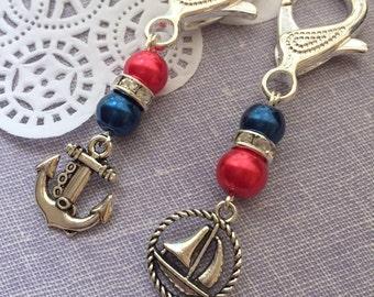 Nautical theme, party favor, event, key chain, zipperpull. SET of TEN. Choose color.