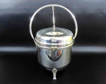 Vintage Silverplate Hinged Ice Bucket with Storage Lid by Keystoneware. Circa 1950's.