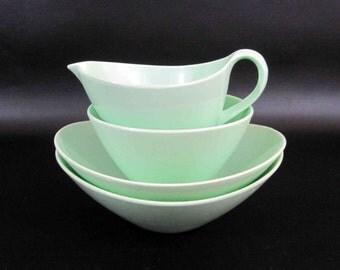 "Vintage 4 Piece Melamine Cream and Sugar Set in Mint Green by ""Fostoria"". Circa 1950's - 60's."