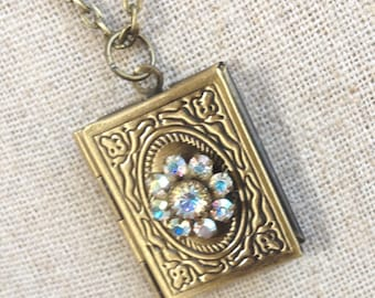 Iridescent Swarovski Crystal Antique Bronze Book Locket Necklace