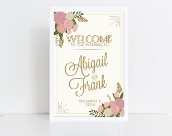 Large Custom Wedding Welcome Sign Printable // Floral Welcome Wedding Sign // Vintage Wedding // Welcome Poster // Wedding Poster // Printed