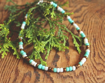 Turquoise, Bronze & White Beaded Summer Anklet//boho jewelry- hippie jewelry- summer jewelry- beach- bohemian- ankle bracelet- surfer