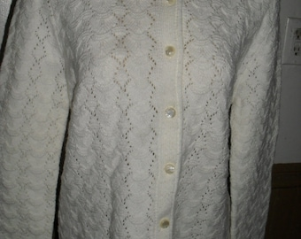 Vintage   - Sweater / Cardigan Button up / White - Cuddle Knit