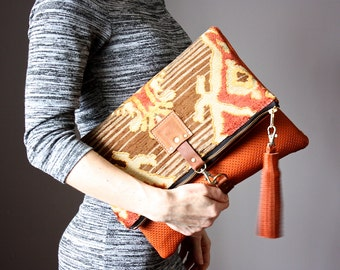 Large Leather fold over clutch, fold over bag, fold over purse, carpet bag,  tapestry fabric and rust leather clutch with leather tassel