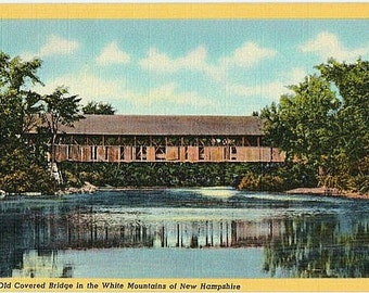 Vintage New Hampshire Postcard - An Old Covered Bridge in the White Mountains (Unused)