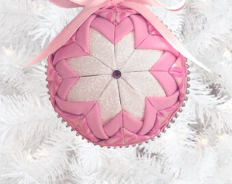 Pink & Cream Quilted Fabric Ornament