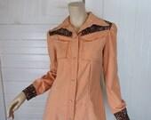 Western Dress in Peach & Brown Bandana- 1970s Disco Cowgirl Denim Dress- Pearl Snaps- Medium