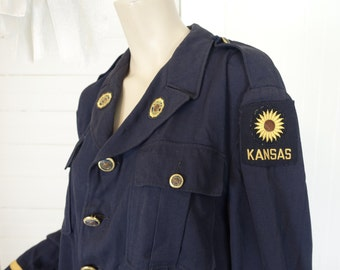 Sunflower Uniform Jacket- Kansas American Legion- Brass Buttons- Navy Blue + Gold- 70s
