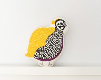 Quail Stuffed Animal/Decorative Pillow - Cotton/Linen Blend