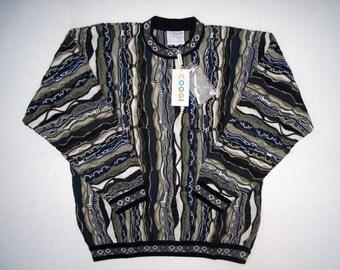 New COOGI Australia size L Mercerised Cotton, Vintage NOS Mens Sweaters Medium Coogi FALL Autumn Multicolor 3D Geometric Patterns