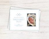 Blue Gingham Unisex Baby Newborn Birth Announcement