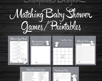 Matching baby shower games, What's in your phone, wishes for baby, words of wisdom, celebrity baby name game, predicitions for baby, DIY