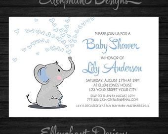 Elephant Baby Shower Invitation, boy, blue, hearts, white, baby sprinkle, baby elephant, custom invite, digital file, you print, DIY