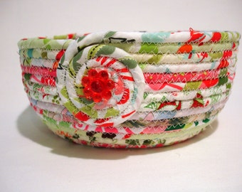 Bubble Gum Christmas Coiled Fabric Bowl