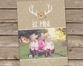 Photo Valentine's Day Card : Floral Antlers Be Mine Rustic Pallet Wood Custom Photo Holiday Card Printable