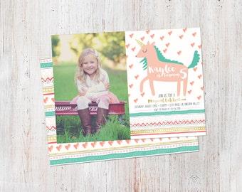 Unicorn Birthday Invitation : Printable Custom Magical Unicorn Invite