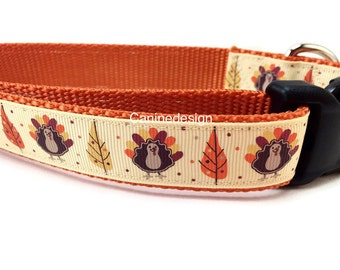 Thanksgiving Dog Collar, 1 inch wide, adjustable, quick release, metal buckle, chain, martingale, hybrid, nylon