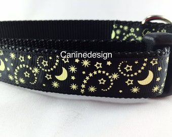 Dog Collar, Black Stars, adjustable, 1 inch, small, 11-14 inches, heavy nylon, quick release buckle