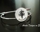 Registered Nurse RN Medical Stethoscope Handstamped Graduation Gift Personalized Bangle - RN Nurse Bracelet