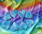 8 lovely New Zealand blue blanket wool hearts -