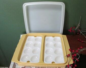 Tupperware Egg Carrier or Storage 1970s Harvest Gold