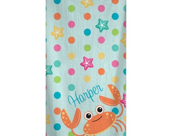 Custom Personalized Beach Towel -  By the Sea Themed Beach Pattern - Color and Personalization of your choice