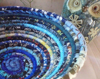 Blue Gypsy Coiled Fabric Basket - Storage, Catchall, Organizer, Handmade by Me