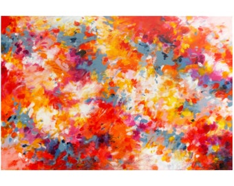 Large Abstract Expressionist Painting, original acrylic on 24x36 canvas, Modern Wall Art, Contemporary Home Decor, red yellow orange