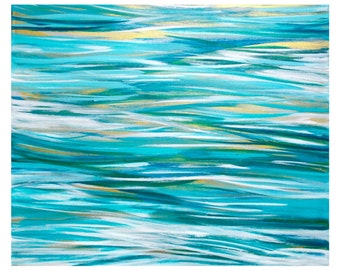Abstract Painting, Original Modern Seascape Beach Art, Acrylic on 20x24 Canvas Wall Art, Home Decor, turquoise teal white gold, ocean