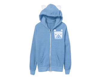 Geo Polar Bear Hoodie - French Terry Hooded Zip Sweatshirt with Ears and Tail in Heather Light Blue - Unisex Size XS-2XL