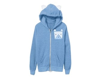 Geo Polar Bear Hoodie - Fleece Hooded Zip Sweatshirt with Ears and Tail in Heather Light Blue - Unisex Size XS-2XL