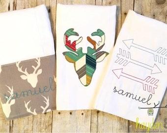 Modern Deer, Arrows Burp Cloths - Set of 3 - Personalized, Monogrammed