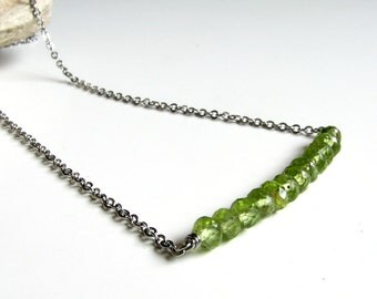 Stainless steel bar necklace Gemstone row necklace Green peridot Layering necklace Womens gift For her August birthstone Minimal necklace