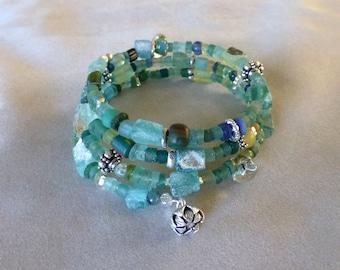Ancient Roman Glass and Silver Triple Wrap Bracelet