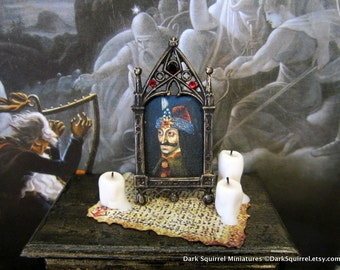 Vlad the Impaler Vampire  Picture  dollhouse miniature, vampire, Dracula, spooky, Halloween, haunted in 1/12 scale