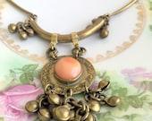 Vintage Heavy Brass Boho Tribal Style Necklace peach shell stone Statement